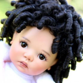 "MONIQUE DOLL WIG AFRO BLACK 12/13 FOR BJD MEADOWDOLLS SAFFI BAILEY SYLVIA-SCARLET 18"" DOLLS ETC..."