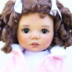 "MONIQUE DOLL WIG CURLY LULU AUBURN 12/13 FOR BJD MEADOWDOLLS SAFFI BAILEY SYLVIA-SCARLET 18"" DOLLS ETC..."