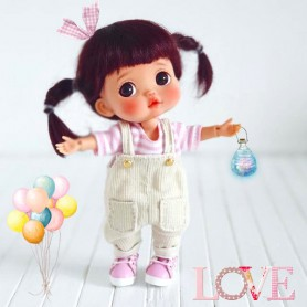 LOVELY BEIGE OVERALL OUTFIT FOR BJD OB11 STODOLL AMYDOLL LATI WHITE SP PUKIPUKI OBITSU 11 CM DOLLS