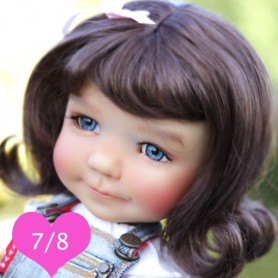 PENNY BROWN BLACK 7/8 WIG FOR BJD DOLLS EFFNER LITTLE DARLING NIKKI BRITT DOLLS DOLLFIE MSD KAYE WIGGS...