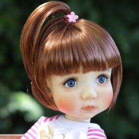 "DOLL WIG BOB BUBBLES DOUBLE RED 10-11"" BJD MEADOWDOLLS MAE ZWERGNASE BLYTHE CUSTOM DOLLS"
