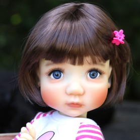 "DOLL WIG BOB BUBBLES CHESNUT BROWN 10-11"" BJD MEADOWDOLLS MAE ZWERGNASE BLYTHE CUSTOM DOLLS"