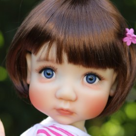 "DOLL WIG BOB BUBBLES REDDISH BROWN 10-11"" BJD MEADOWDOLLS MAE ZWERGNASE BLYTHE CUSTOM DOLLS"