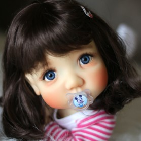 MONIQUE HANNAH BROWN DOLL WIG 9-10 FOR BJD BLYTHE MEADOWDOLLS MAE ADRYN ZWERGNASE