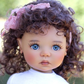 PERRUQUE MONIQUE WIG ASHLEY CHESTNUT BROWN MOHAIR 12.13 POUPÉE BJD MEADOWDOLLS SAFFI BAILEY...