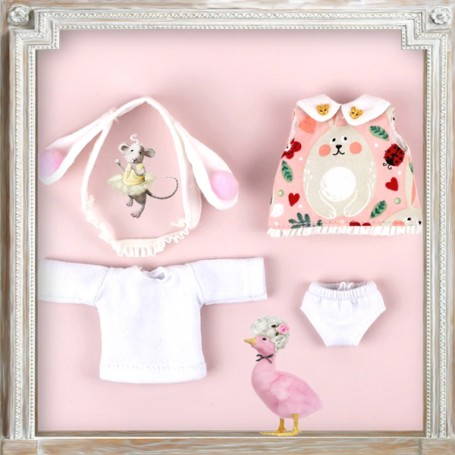 KAWAII DRESS SET DRESS OUTFIT FOR OB11 STODOLL AMYDOLL LATI WHITE SP PUKIPUKI OBITSU 11 CM DOLLS