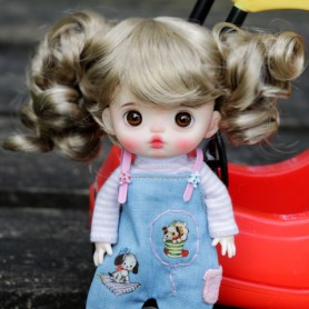 DOLL WIG CURLY BABY BJD STODOLL OB11 AMY DOLL LATI YELLOW PUKIFEE MEADOWDOLLS TWINKLES 5/6