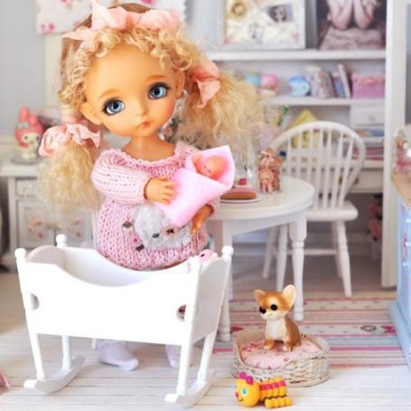 BABY BED NURSERY DOLLHOUSE MINIATURE DIORAMA BJD DOLL STODOLL OB11 AMY DOLL NENDOROID LATI YELLOW