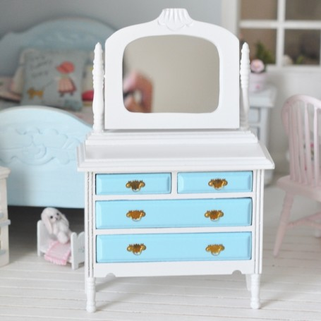 WHITE AND BLUE CHEST OF DRAWERS MINIATURE FOR BJD DOLL STODOLL OB11 AMY DOLL NENDOROID LATI YELLOW DIORAMA DOLLHOUSE
