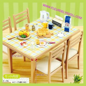 RE-MENT REMENT JAPAN MINIATURE KITCHEN TABLE AND 4 CHAIRS DOLLHOUSE DIORAMA BJD DOLL BLYTHE MIDDIE PULLIP DOLLHOUSE