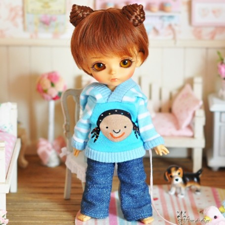 """INDIAN HOODIE SWEATER OUTFIT FOR BJD LATI YELLOW PUKIFEE AND OTHER 6"""" DOLLS"""