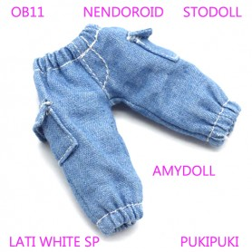 DENIM JEAN PANTS WITH POCKETS OUTFIT FOR BJD OB11 NENDOROID STODOLL AMY DOLL LATI WHITE SP PUKIPUKI OBITSU 11 CM DOLLS