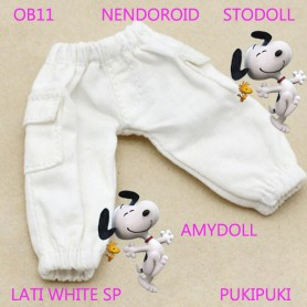 WHITE PANTS WITH POCKETS OUTFIT FOR BJD OB11 NENDOROID STODOLL AMY DOLL LATI WHITE SP PUKIPUKI OBITSU 11 CM DOLLS