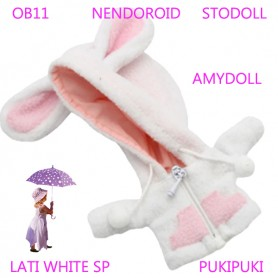BUNNY HOODIE COAT WITH POCKETS OUTFIT FOR BJD OB11 NENDOROID STODOLL AMY DOLL LATI WHITE SP PUKIPUKI OBITSU 11 CM DOLLS