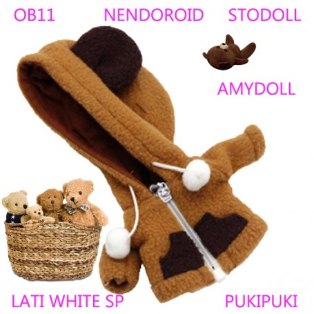 BROWN BEAR HOODIE COAT WITH POCKETS OUTFIT FOR BJD OB11 NENDOROID STODOLL AMY DOLL LATI WHITE SP PUKIPUKI OBITSU 11 CM DOLLS