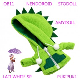 GREEN DINO HOODIE COAT WITH POCKETS OUTFIT FOR BJD OB11 NENDOROID STODOLL AMY DOLL LATI WHITE SP PUKIPUKI OBITSU 11 CM DOLLS