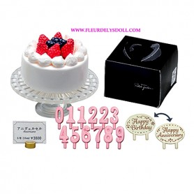 "RE-MENT ""PETIT GATEAU"" REMENT MINIATURE SET FROM JAPAN FRENCH PASTRY BIRTDAY CAKE CANDLES ..."