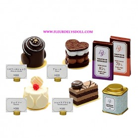 "RE-MENT ""PETIT GATEAU"" FRENCH PASTRY CAKES & CHOCOLATES REMENT MINIATURE SET FROM JAPAN"