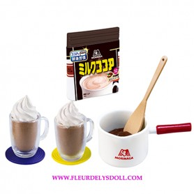 RE-MENT REMENT MINIATURE MORINAGA CHOCOLATE MILK COCOA MUGS AND SAUCEPAN BJD DOLLS BLYTHE BARBIE