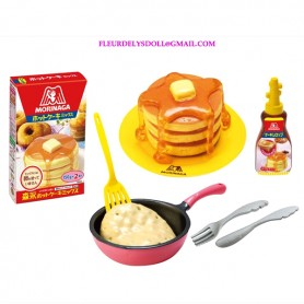 REMENT RE-MENT MINIATURE MORINAGA PANCAKES POELE SIROP D'ERABLE COUVERTS ET PAQUET DE PATE CUISINE POUPEE BARBIE BLYTHE BJD...