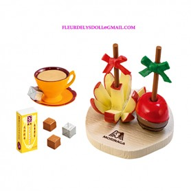 REMENT RE-MENT MINIATURE MORINAGA POMME D'AMOUR CARAMEL ET CAFE CUISINE POUPEE BARBIE BLYTHE BJD DIORAMA DOLLHOUSE