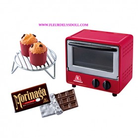 MINIATURE RED OVEN CAKES AND CHOCOLATE KITCHEN RE-MENT REMENT MORINAGA BJD DOLLS BLYTHE BARBIE DIORAMA DOLLHOUSE 1/6