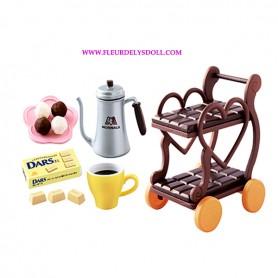 CAFETIERE ET CHOCOLAT DARS MINIATURE REMENT RE-MENT MORINAGA CUISINE POUPEE BARBIE BLYTHE BJD DIORAMA DOLLHOUSE