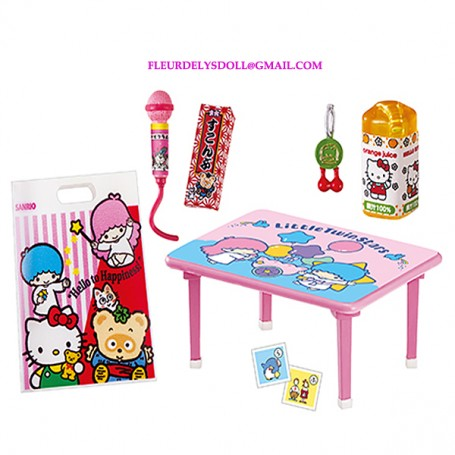 HELLO KITTY MINIATURE PLAYING TABLE AND TOYS ACCESSORIES RE-MENT REMENT SMALL BJD DOLLS STODOLL OB11 BARBIE BLYTHE PULLIP