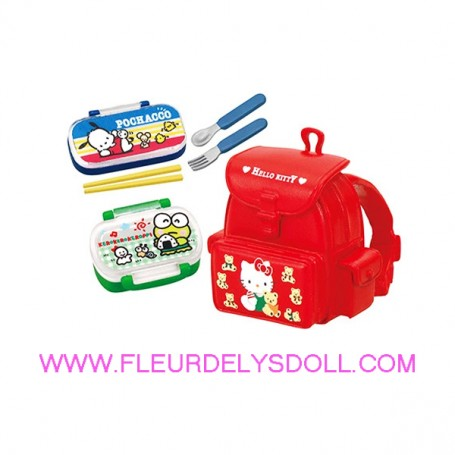 KAWAII HELLO KITTY MINIATURE SCHOOL BAG BENTO BOX RE-MENT DOLLS STODOLL OB11 BARBIE BLYTHE PULLIP
