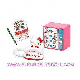 SET DE BUREAU TELEPHONE CRAYON HELLO KITTY REMENT KAWAII MINIATURE REMENT RE-MENT DOLL STODOLL OB11 AMYDOLL MIDDIE BLYTHE BARBIE