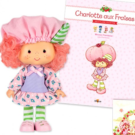 RASPBERRY MOUSSE + BOOK + CARD STRAWBERRY SHORTCAKE SCENTED DOLL CHARLOTTE AUX FRAISES DESIGN 1980
