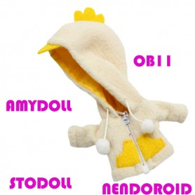 MINI DUCK HOODIE COAT OUTFIT FOR BJD OB11 NENDOROID STODOLL AMY DOLL LATI WHITE SP PUKIPUKI OBITSU 11 CM DOLLS