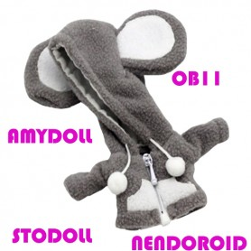 MINI MOUSE HOODIE COAT OUTFIT FOR BJD OB11 NENDOROID STODOLL AMY DOLL LATI WHITE SP PUKIPUKI OBITSU 11 CM DOLLS