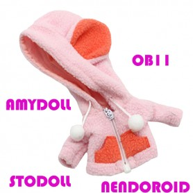 copy of MINI PANDA HOODIE COAT OUTFIT FOR BJD OB11 NENDOROID STODOLL AMY DOLL LATI WHITE SP PUKIPUKI OBITSU 11 CM DOLLS
