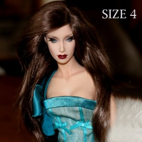 DOLL WIG MONIQUE PRETTY GIRL BROWN BLACK FOR BARBIE FASHION ROYALTY RILEY DOLLS ...