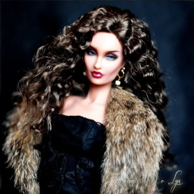 DOLL WIG MONIQUE CHRISTINE BROWN BLACK FOR BARBIE FASHION ROYALTY RILEY DOLLS ...