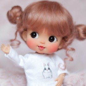 MOHAIR MACARON DOLL WIG FOR CUSTOM DOLL BJD STODOLL OB11 CUSTOM SYBARITE AMYDOLL KKNER LATI YELLOW PUKIFEE DOLL