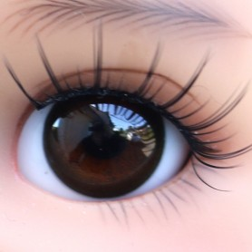 YEUX EN VERRE OVAL REAL BRUN ÉBÈNE 18 mm GLASS EYES POUR POUPÉE BJD REBORN DOLL IPLEHOUSE MEADOWDOLLS SAFFI BAILEY