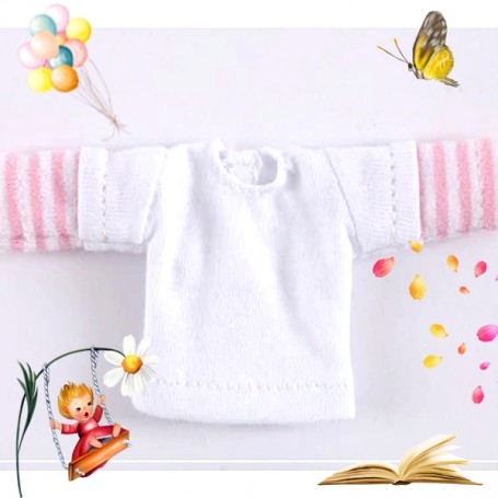 PINK AND WHITE TEE SHIRT OUTFIT FOR OB11 AMYDOLL STODOLL LATI WHITE SP PUKIPUKI OBITSU 11 CM DOLLS
