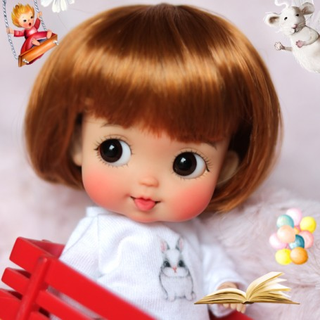 RED FOX BOB WIG FOR BJD STODOLL OB11 AMYDOLL CUSTOM SYBARITE LATI YELLOW PUKIFEE MEADOWDOLLS TWINKLES DOLL