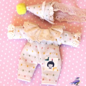 CLOWN OVERALL AND HAT OUTFIT FOR OB11 AMYDOLL STODOLL LATI WHITE SP PUKIPUKI OBITSU 11 CM DOLLS