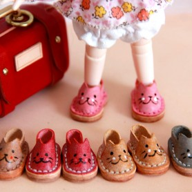 MINI REAL LEATHER KITTY DOLL SHOES FOR OB11 STODOLL AMY DOLL LATI WHITE SP PUKIPUKI OBITSU 11 MINI DOLLS