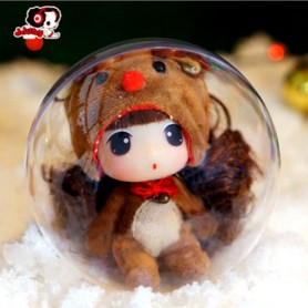 """LOVELY DOLL 9 CM (3.5"""")  GREAT CHRISTMAS GIFT IN HER CLEAR BIG BALL"""