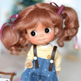 MOHAIR COCOTTE DARK PINK DOLL WIG FOR CUSTOM DOLL BJD STODOLL OB11 CUSTOM SYBARITE AMYDOLL KKNER LATI YELLOW PUKIFEE DOLL