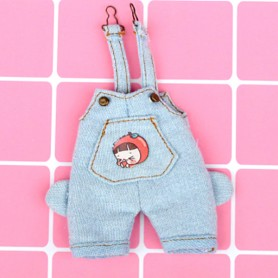 FUNNY GIRLY DENIM OVERALL OUTFIT FOR STODOLL OB11 AMYDOLL BJD LATI WHITE SP OBITSU 11 DOLLS