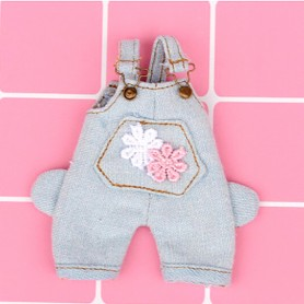 FUNNY FLOWERS DENIM OVERALL OUTFIT FOR STODOLL OB11 AMYDOLL BJD LATI WHITE SP OBITSU 11 DOLLS