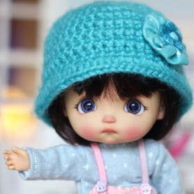 TURQUOISE HAT FOR BJD DOLL OB11 STODOLL AMY DOLL LATI WHITE SP PUKIPUKI OBITSU 11 MINI DOLLS