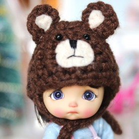 BROWN BEAR HAT FOR BJD DOLL OB11 STODOLL AMY DOLL LATI WHITE SP PUKIPUKI OBITSU 11 MINI DOLLS
