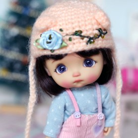 APRICOT HAT FOR BJD DOLL OB11 STODOLL AMY DOLL LATI WHITE SP PUKIPUKI OBITSU 11 MINI DOLLS