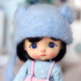 BABY BLUE BEAR HAT FOR BJD DOLL OB11 STODOLL AMY DOLL LATI WHITE SP PUKIPUKI OBITSU 11 MINI DOLLS